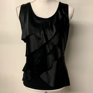 Ann Taylor Black Sateen Tiered Ruffle Front Top